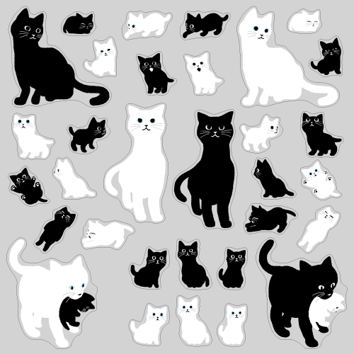【VP】白黒おやこ猫の写真