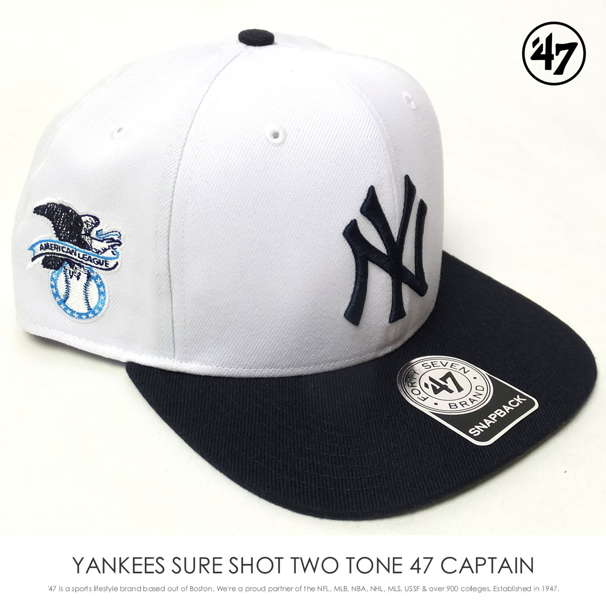 フォーティーセブンブランド 47BRAND キャップ 帽子 メンズ ニューヨーク・ヤンキース YANKEES SURE SHOT TWO TONE 47 CAPTAIN ホワイト (SRSTT17WBP)