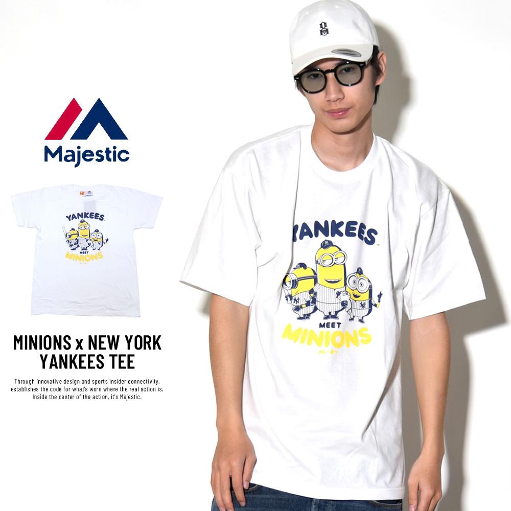 MAJESTIC マジェスティック 半袖Tシャツ メンズ ミニオンズ コラボ MINIONS×NEW YORK YANKEES TEE (MM01-NYK-8S900MN)