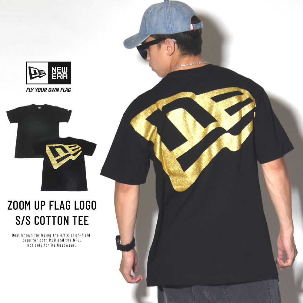 NEW ERA ニューエラ 半袖コットンTシャツ ズームアップフラッグロゴ ブラック×ゴールド 11783020