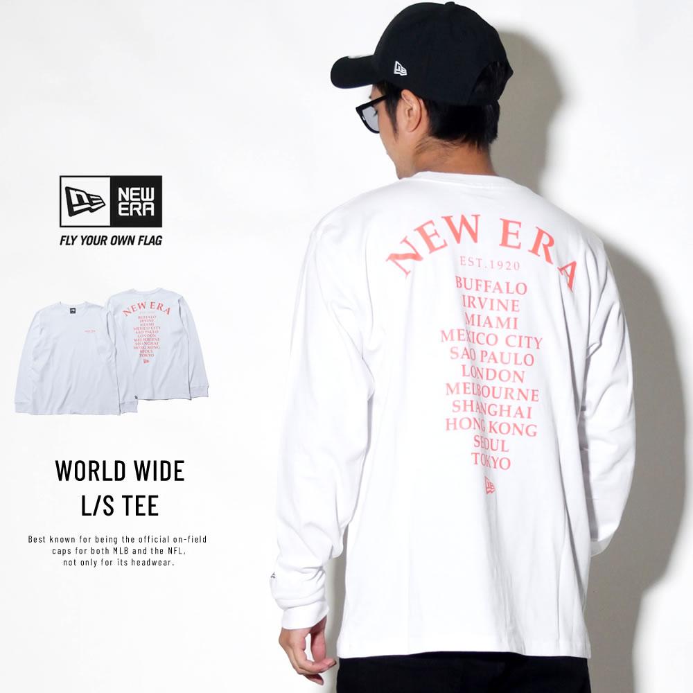 NEW ERA ニューエラ 長袖Tシャツ ワールドワイド ホワイト×ラバレッド 11783066