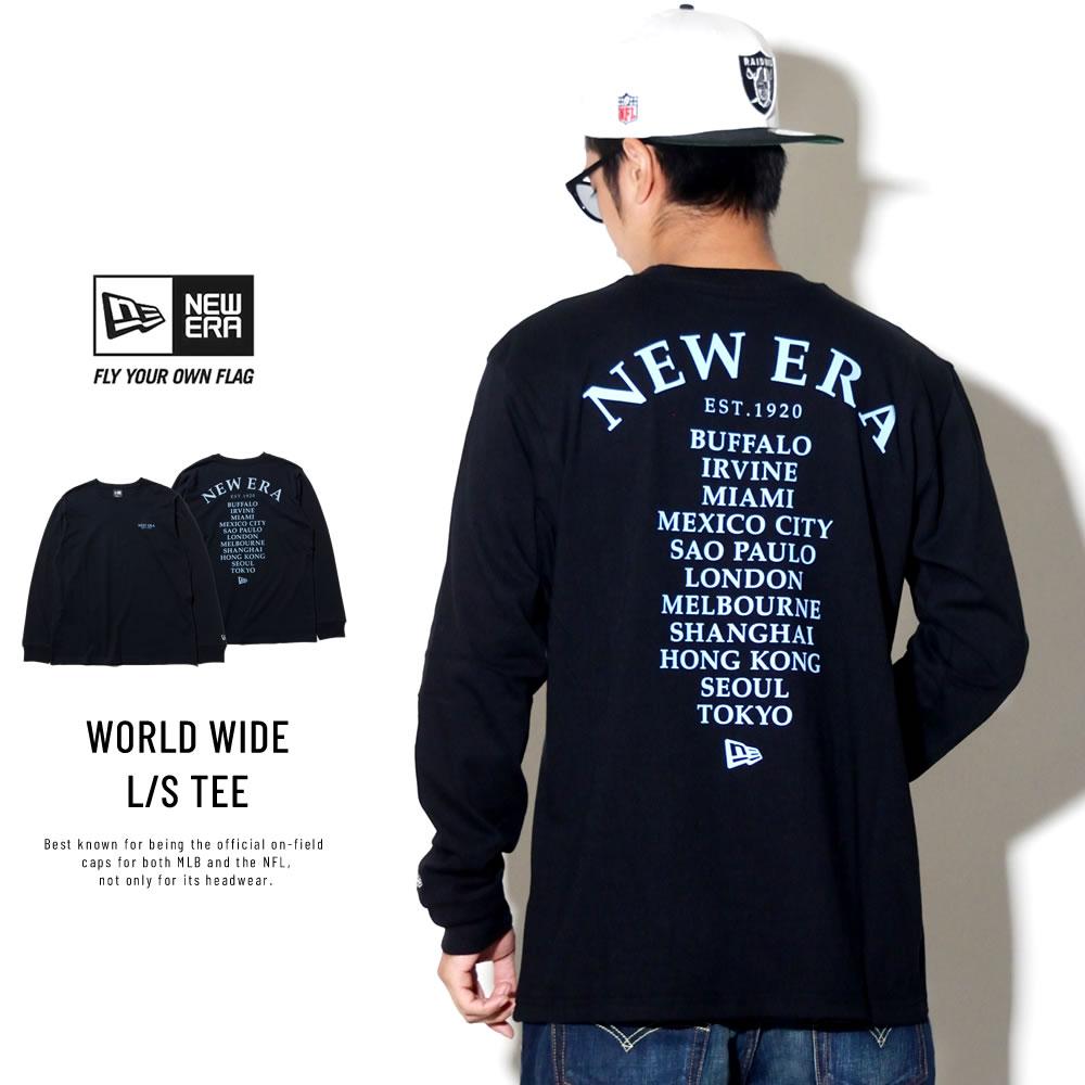 NEW ERA ニューエラ 長袖Tシャツ ワールドワイド ブラック×ライトブルー 11783067
