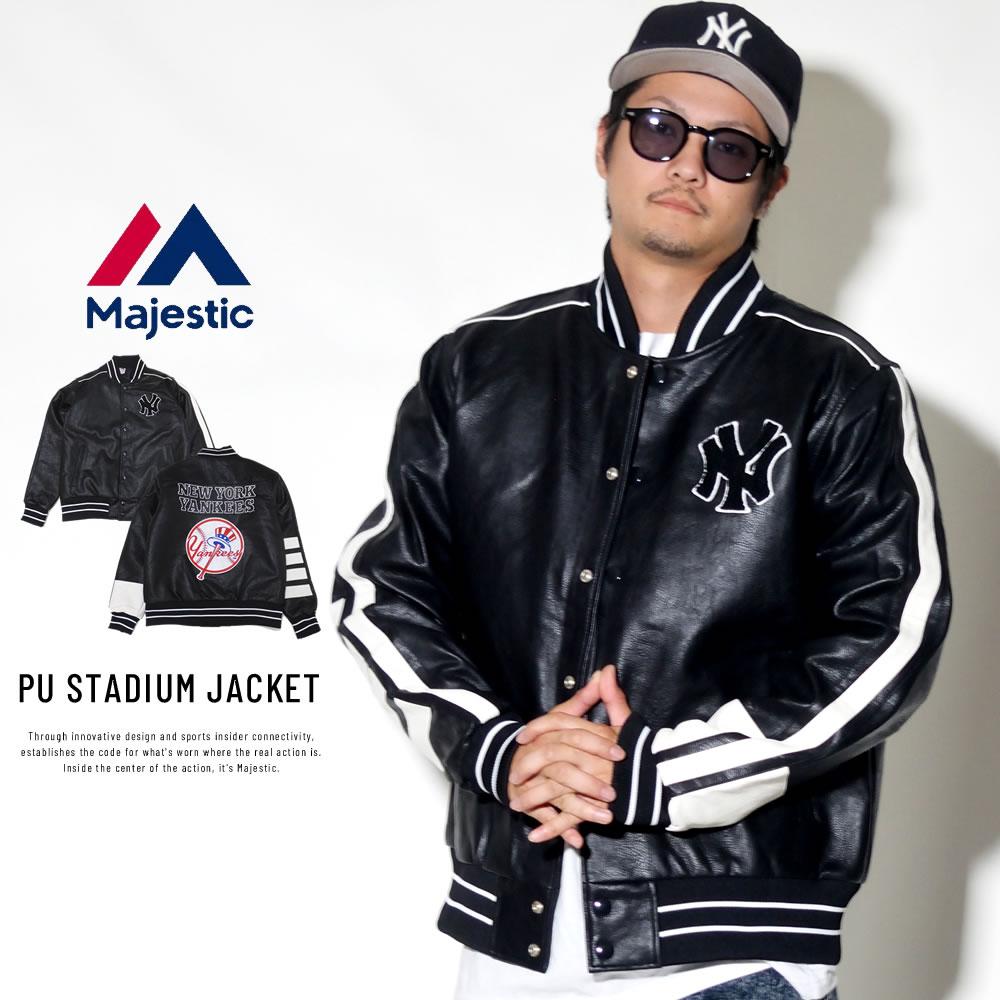 MAJESTIC マジェスティック バーシティジャケット PU STADIUM JACKET MM23-NY-8F07