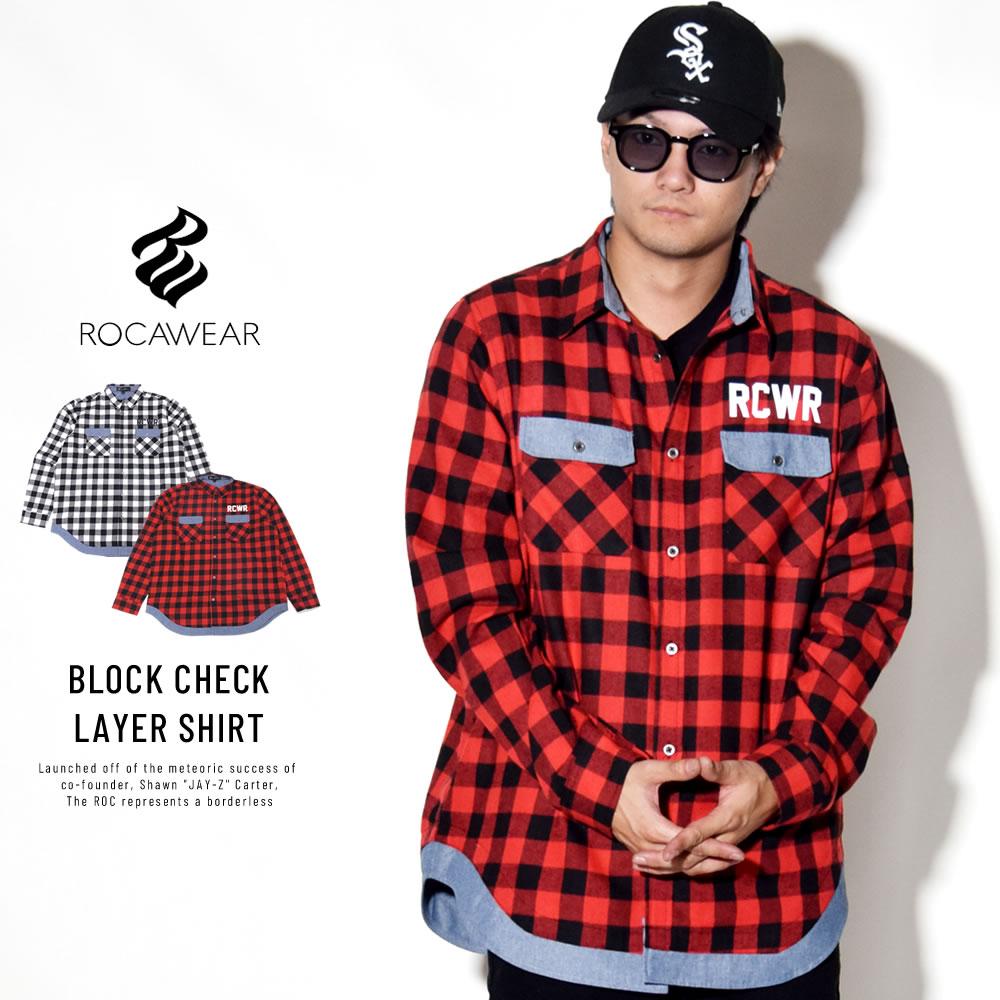 ROCAWEAR ロカウェア 長袖シャツ BLOCK CHECK LAYER SHIRT RW183W04