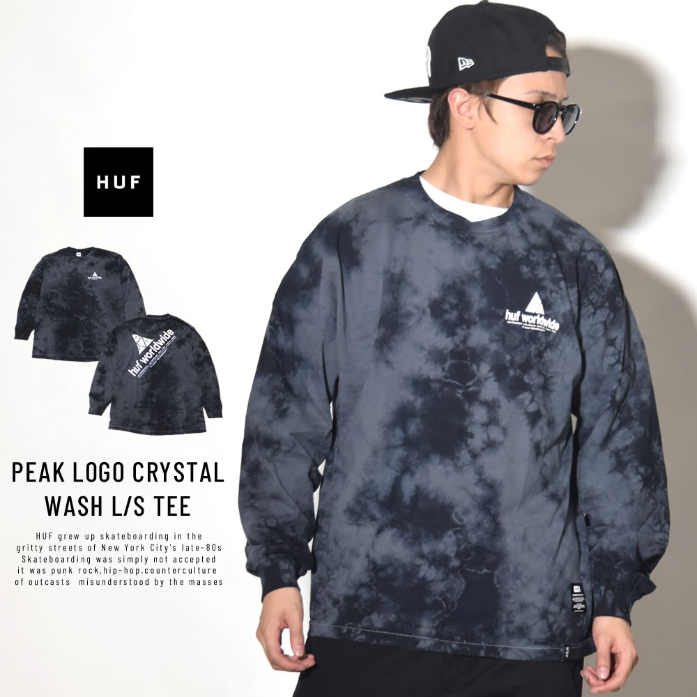 HUF ハフ 長袖Tシャツ PEAK LOGO CRYSTAL WASH L/S TEE TS00461