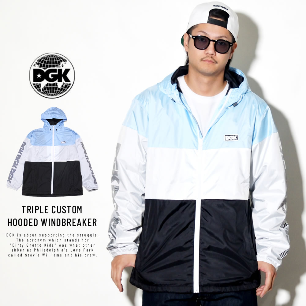 DGK ディージーケー ウィンドブレーカー TRIPLE CUSTOM HOODED WINDBREAKER POWDER BLUE CJL-1001