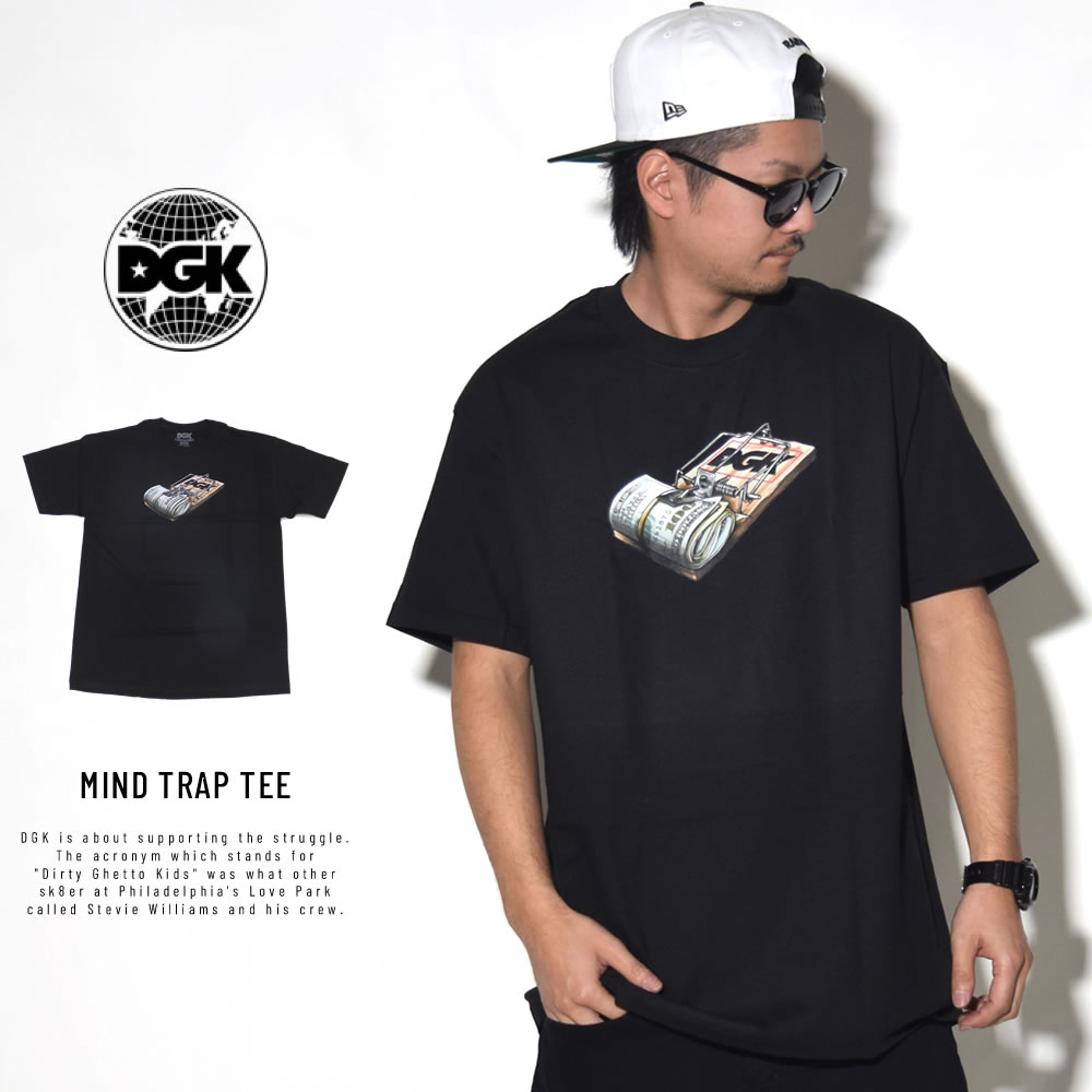 DGK ディージーケー 半袖Tシャツ MIND TRAP TEE BLACK PTM-1075