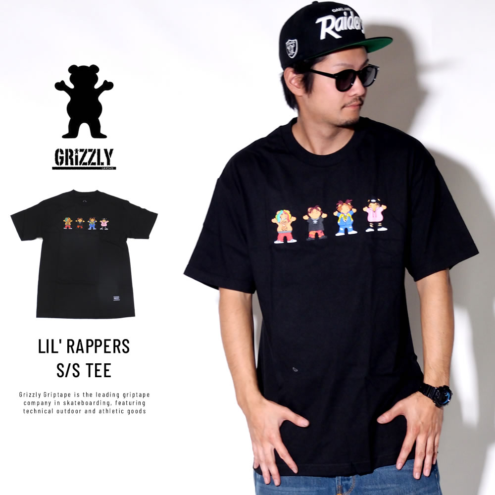 Grizzly Griptape グリズリーグリップテープ 半袖Tシャツ LIL' RAPPERS S/S TEE ブラック SMB1801P14