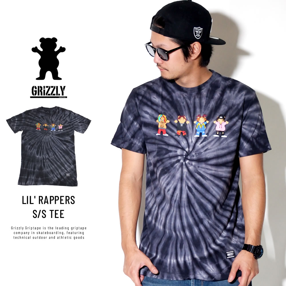 Grizzly Griptape グリズリーグリップテープ 半袖Tシャツ LIL' RAPPERS S/S TEE タイダイブラック SMB1801P14