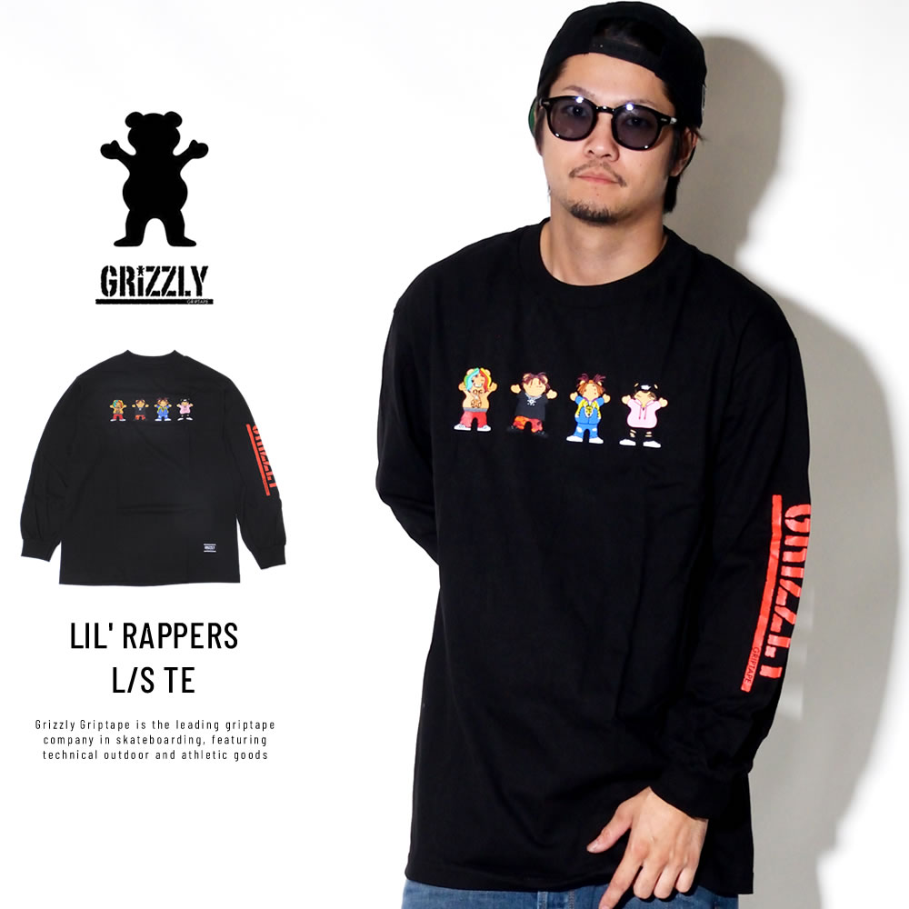 Grizzly Griptape グリズリーグリップテープ 長袖Tシャツ LIL' RAPPERS L/S TEE ブラック SMB1802P06