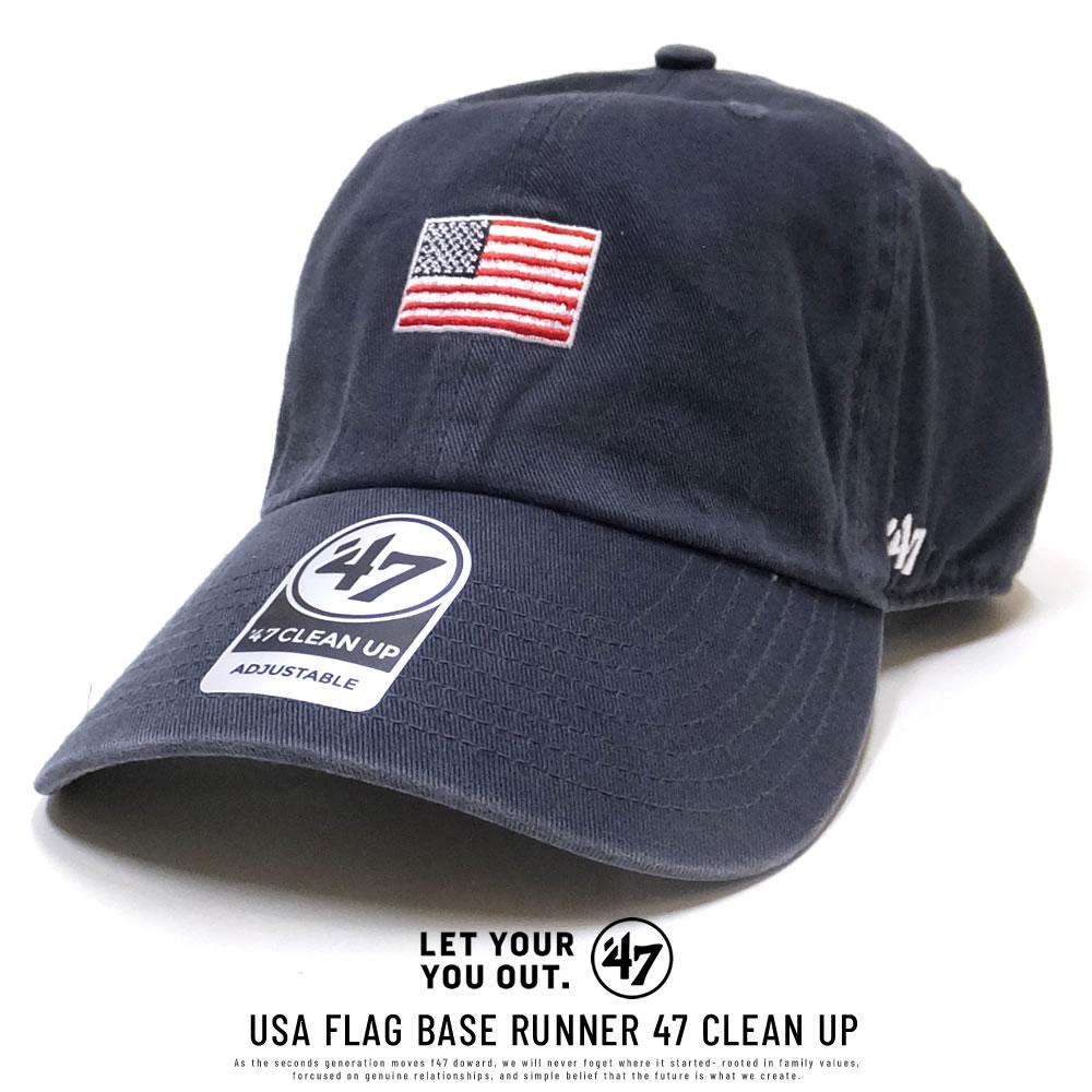 47BRAND フォーティーセブンブランド カーブバイザーキャップ USA FLAG BASE RUNNER 47 CLEAN UP XS-BSRNR198GWS-VN