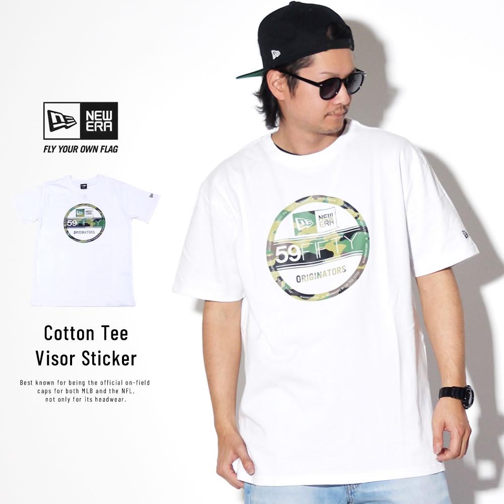 NEW ERA ニューエラ 半袖Tシャツ コットン Tシャツ ウッドランドカモ バイザーステッカー ホワイト 11901371