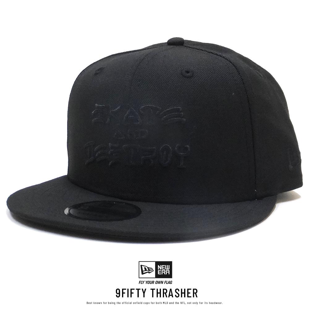 NEW ERA ニューエラ フラットバイザーキャップ 9FIFTY Thrasher スラッシャー SKATE AND DESTROY ブラック × ブラック 11914525