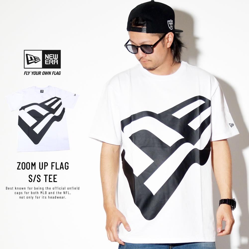 NEW ERA ニューエラ コットン Tシャツ ズームアップ フラッグ ホワイト × ブラック 11901368