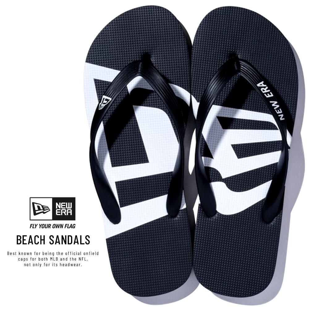 NEW ERA ニューエラ サンダル Beach Sandals ビーチサンダル フラッグ ブラック × ホワイト 11901532