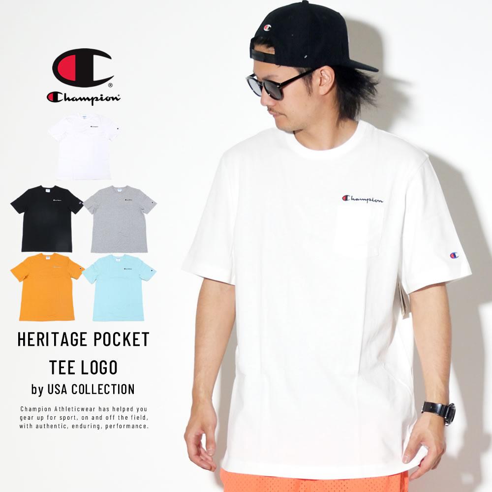 CHAMPION チャンピオン 半袖Tシャツ HERITAGE POCKET TEE LOGO T5075