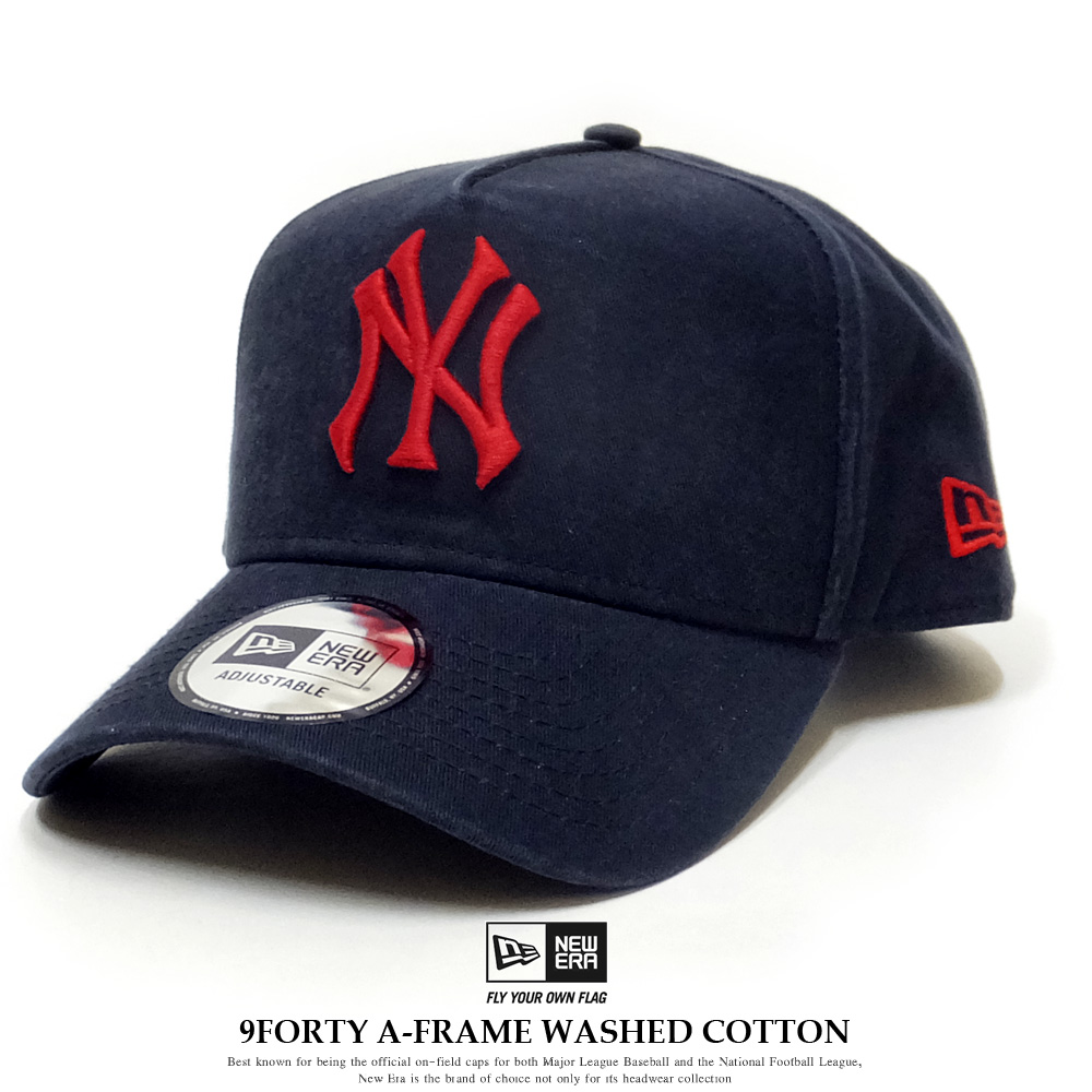 NEW ERA ニューエラ カーブバイザーキャップ 9FORTY A-Frame ウォッシュドコットン ニューヨーク・ヤンキース ネイビー × ラディアントレッド 11901223