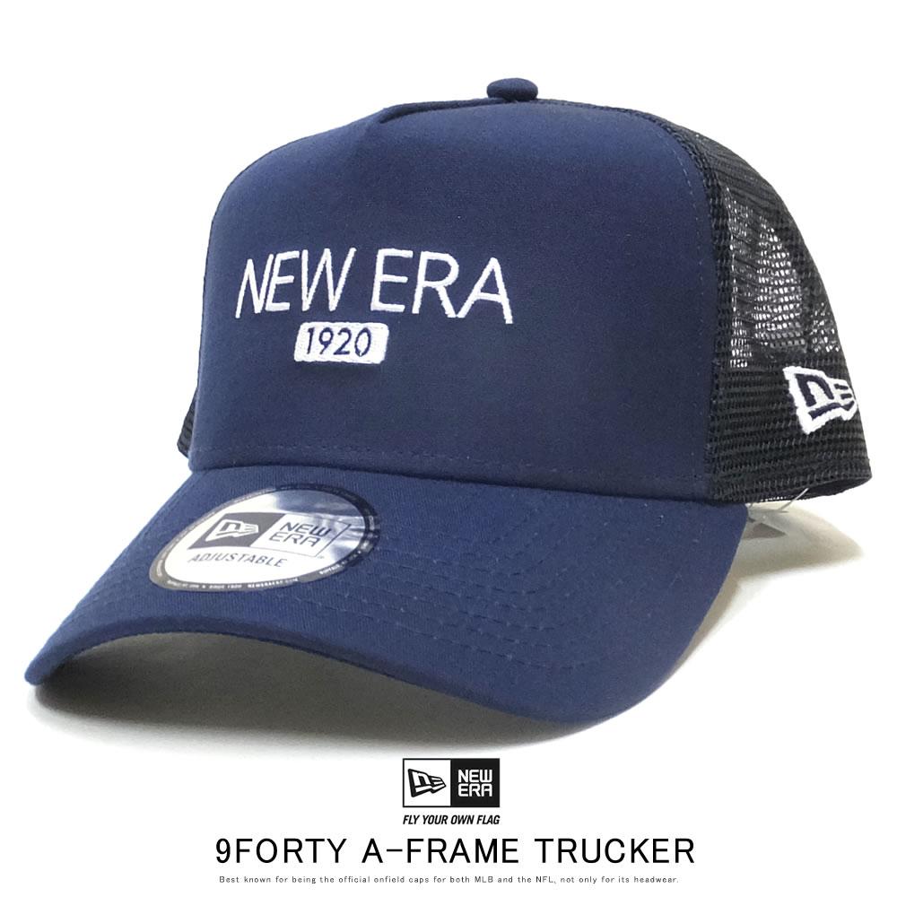 NEW ERA ニューエラ カーブバイザーキャップ 9FORTY A-Frame トラッカー キャンバス ニューエラ 1920 ナイトブルー 12108902