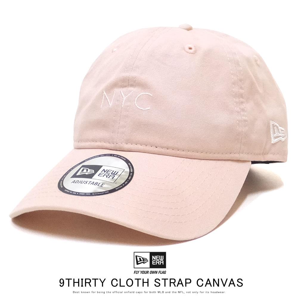 NEW ERA ニューエラ カーブバイザーキャップ 9THIRTY クロスストラップ キャンバス nyc ミニロゴ ピンク × スノーホワイト 12109003