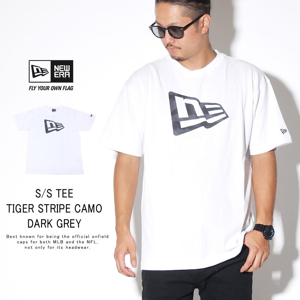 NEW ERA ニューエラ 半袖Tシャツ コットン Tシャツ タイガーストライプカモグレー フラッグ ホワイト 12108193