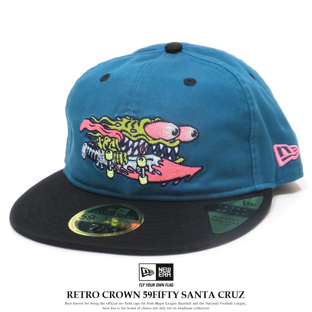 NEW ERA ニューエラ フラットバイザーキャップ RC 59FIFTY Santa Cruz サンタクルーズ シャークティール × マルチカラー ブラックバイザー 12110709