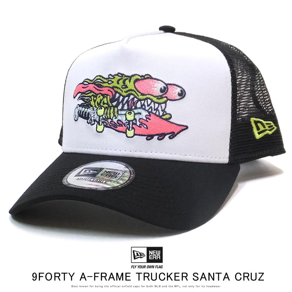 NEW ERA ニューエラ カーブバイザーキャップ メッシュキャップ 9FORTY A-Frame トラッカー Santa Cruz サンタクルーズ ホワイト ブラックメッシュ 12110768