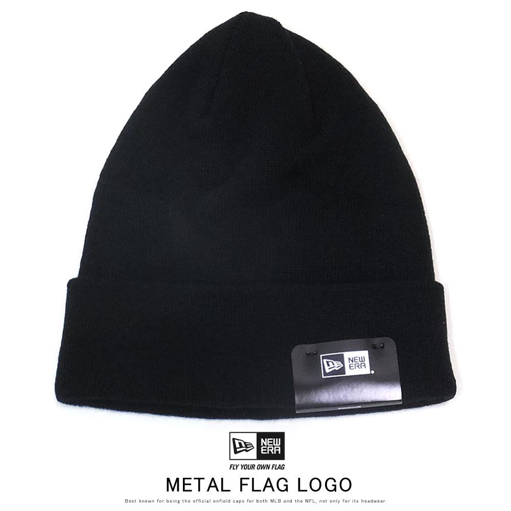 NEW ERA ニューエラ ニットキャップ ベーシック カフニット メタルフラッグロゴ ブラック 12108814
