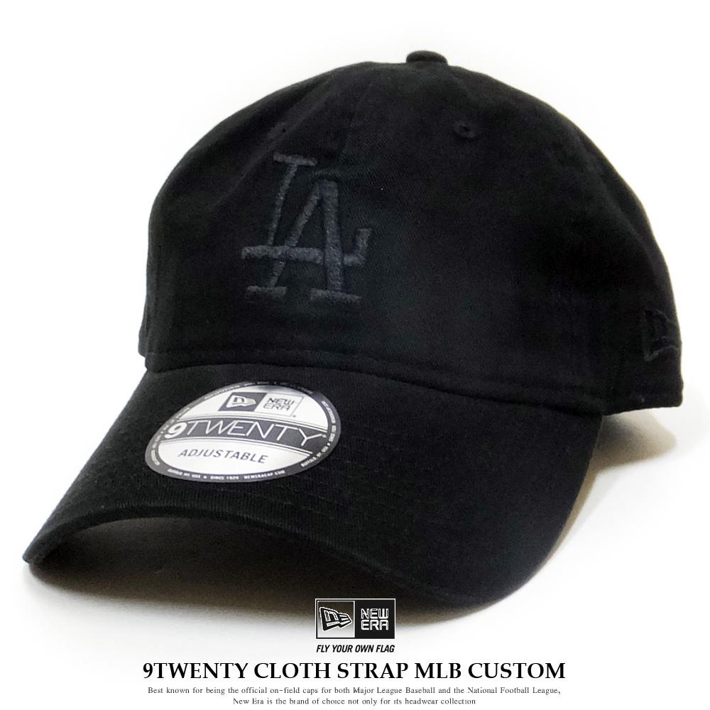 NEW ERA ニューエラ カーブバイザーキャップ 9TWENTY クロスストラップ MLBカスタム ロサンゼルス・ドジャース ブラック 12119375