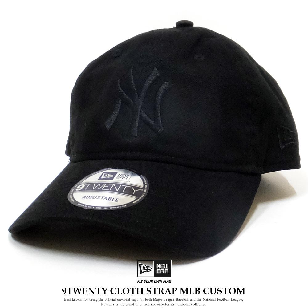 NEW ERA ニューエラ カーブバイザーキャップ 9TWENTY クロスストラップ MLBカスタム ニューヨーク・ヤンキース ブラック 12121375