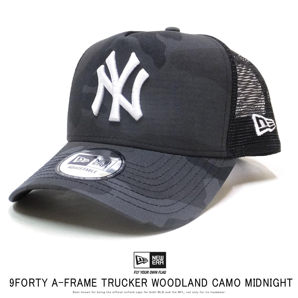 NEW ERA ニューエラ カーブバイザーキャップ 9FORTY A-Frame トラッカー ニューヨーク・ヤンキース ウッドランドカモ ミッドナイト × ホワイト 12119335