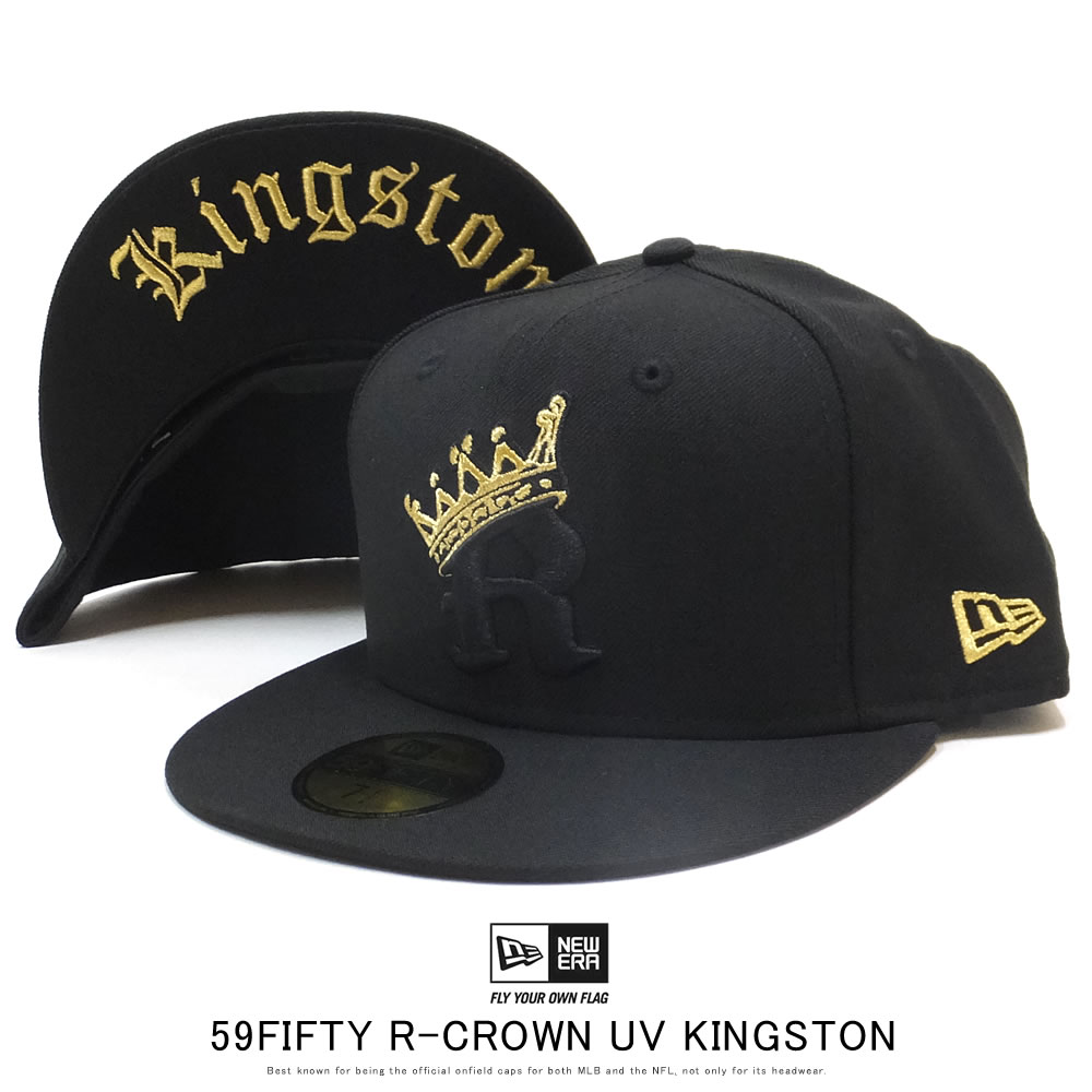 NEW ERA ニューエラ フラットバイザーキャップ 59FIFTY R-クラウン ブラック × ブラック/ゴールド Kingston 12119377