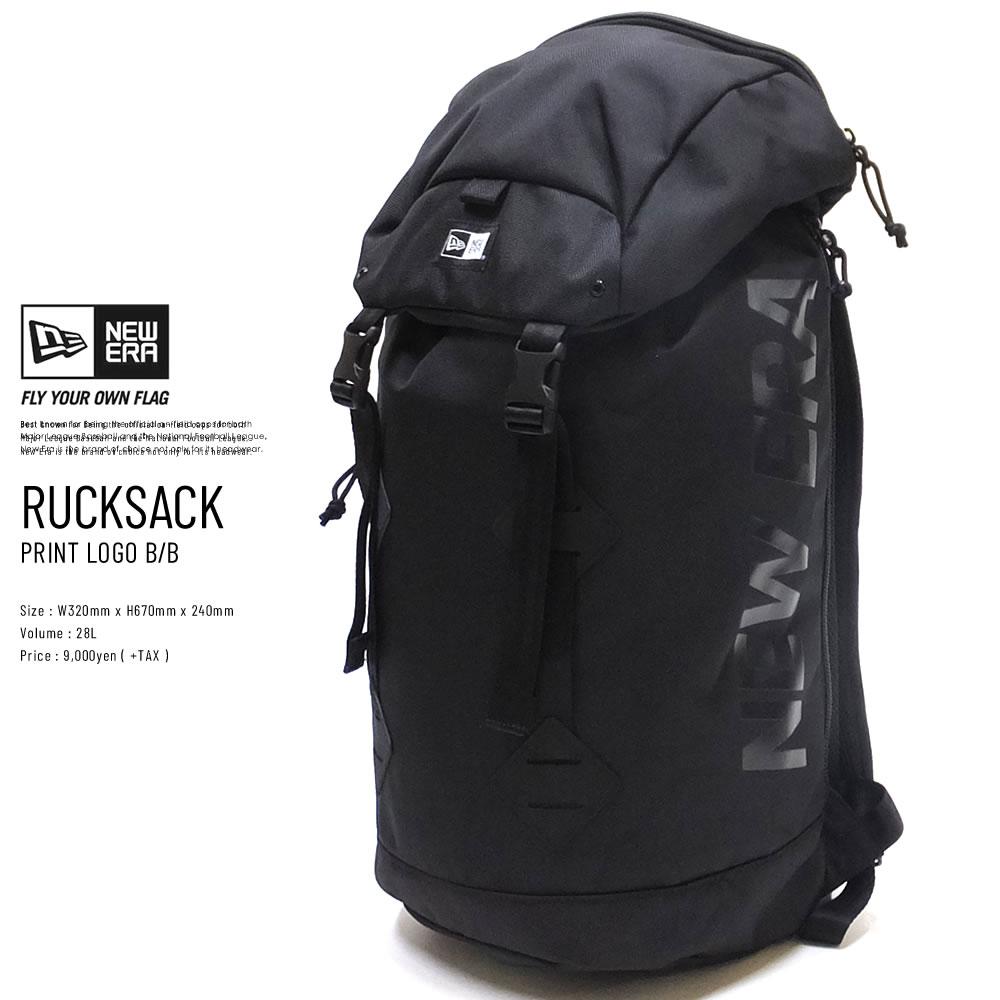 NEW ERA ニューエラ バックパック ラックサック プリントロゴ ブラック × ブラック 11901493