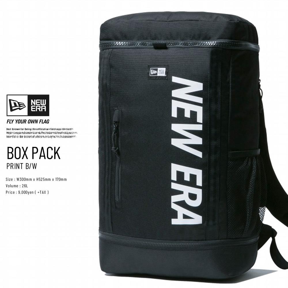 NEW ERA ニューエラ バックパック ボックスパック プリントロゴ ブラック × ホワイト 11901528
