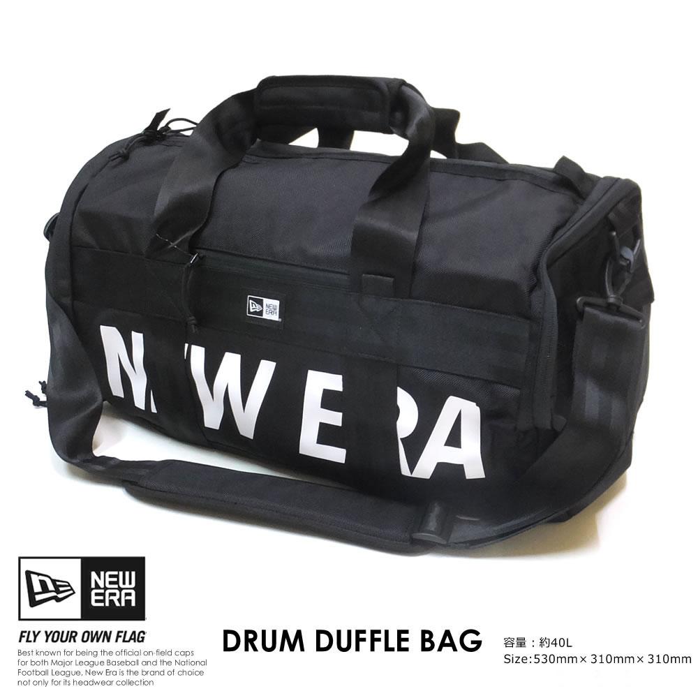 NEW ERA ニューエラ ドラム ダッフルバッグ 40L プリントロゴ ブラック × ホワイト 12108726