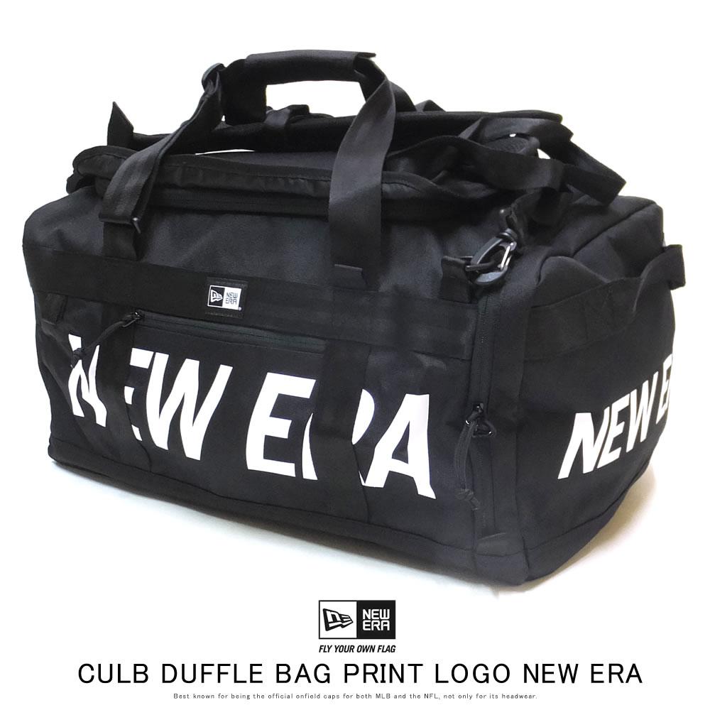 New Era (ニューエラ) ダッフルバッグ CLUB DUFFLE BAG 50L 2ウェイ プリントロゴ ブラック×ホワイト (12108749)