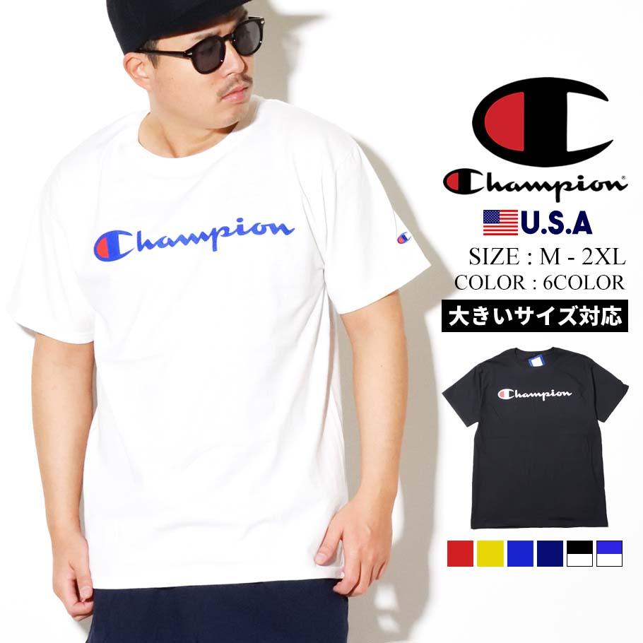 チャンピオン Champion Tシャツ メンズ レディース 半袖 大きいサイズ USAモデル グラフィックジャージTシャツ スクリプトロゴ GT23H Y06794