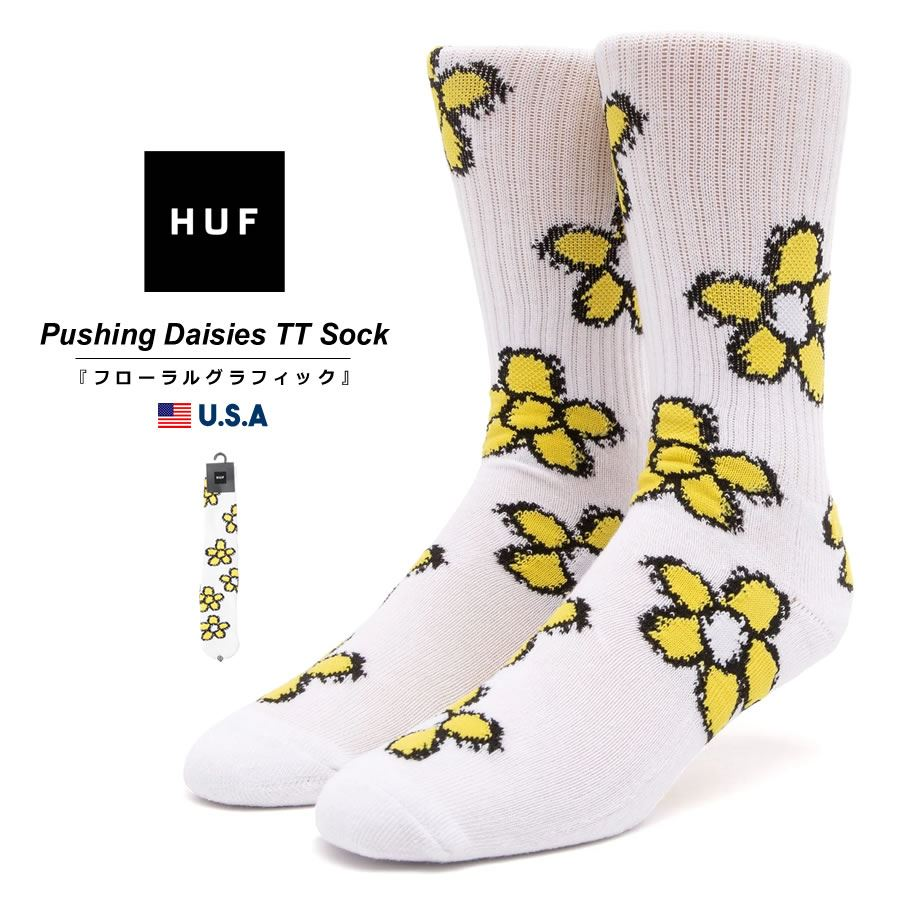 HUF ハフ クルーソックス メンズ 靴下 USAモデル プッシングデイジーTTソックス ホワイト SK00554 2021 春夏 新作