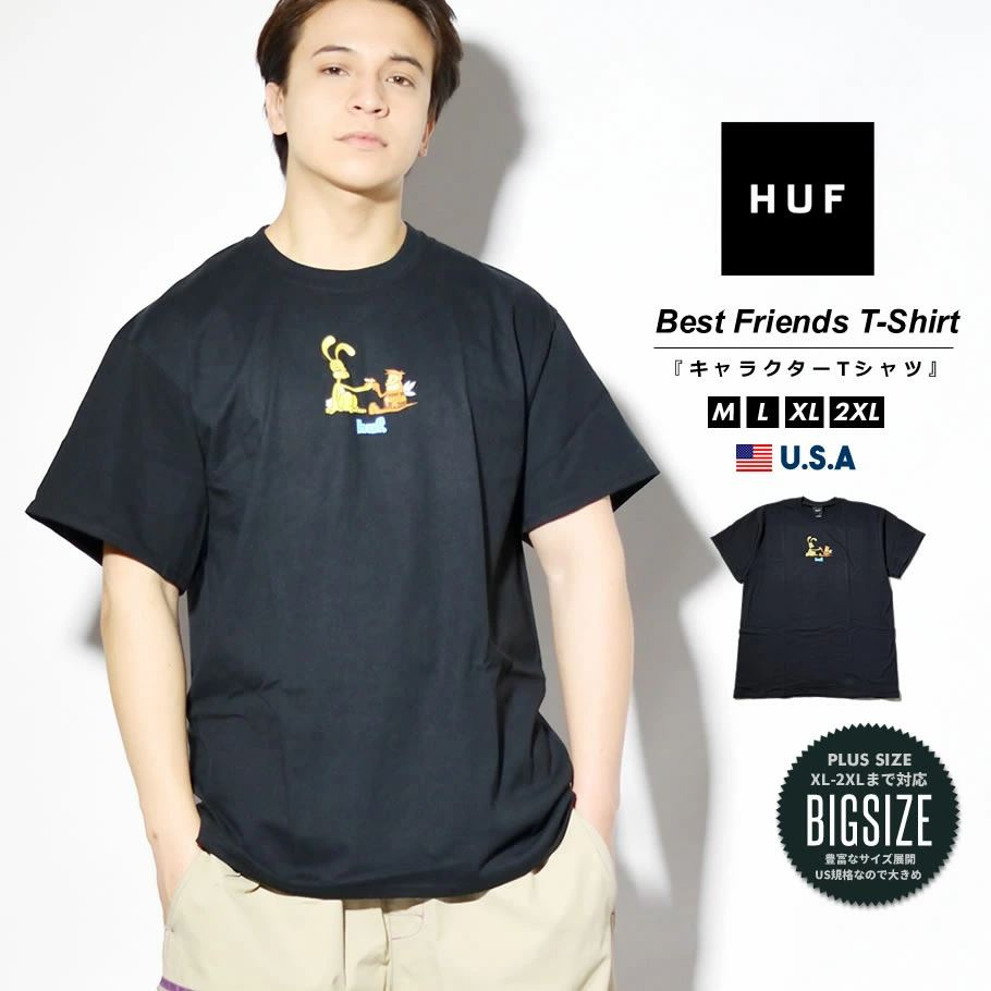 HUF ハフ Tシャツ メンズ レディース 半袖 USAモデル BEST FRIENDS S/S TEE ブラック TS01335 2021 春夏 新作