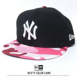 NEW ERA ニューエラ フラットバイザーキャップ 9FIFTY カラーカモ ニューヨーク・ヤンキース ブラック×スノーホワイト ピンクカモバイザー (11557259)