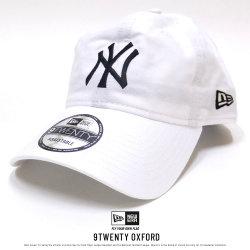 NEW ERA ニューエラ カーブバイザーキャップ 9TWENTY クロスストラップ オックスフォード ニューヨーク・ヤンキース ホワイト×ブラック (11557483)