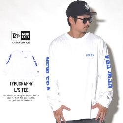 NEW ERA ニューエラ 長袖Tシャツ NEWERAタイポグラフィ ホワイト×ブルー 11783072
