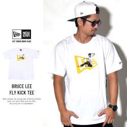 NEW ERA ニューエラ コラボ Tシャツ ブルース・リー 飛び蹴りフォト×フラッグロゴ ホワイト 11839817