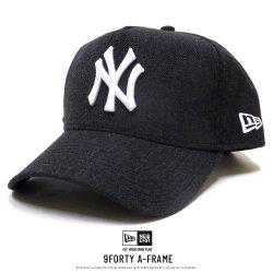NEW ERA ニューエラ カーブバイザーキャップ 9FORTY A-FRAME ヘザー ニューヨーク・ヤンキース ブラック×スノーホワイト 11781457