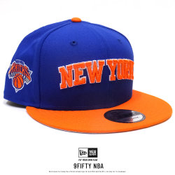 NEW ERA ニューエラ フラットバイザーキャップ 9FIFTY ニューヨーク・ニックス ブルー×オレンジ 11855410