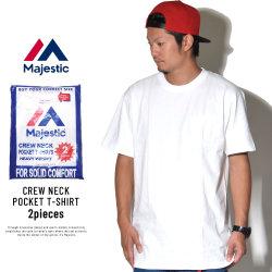 MAJESTIC マジェスティック 半袖ポケットTシャツ パックT 2枚セット 2PAC POCKET TEE ホワイト (CM07-MC-S002-WH)