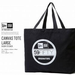 NEW ERA ニューエラ キャンバストート ラージ CANVAS TOTE LARGE バイザーステッカー ブラック×ホワイト (11783333)