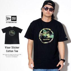 NEW ERA ニューエラ 半袖Tシャツ コットン Tシャツ ウッドランドカモ バイザーステッカー ブラック 11556777