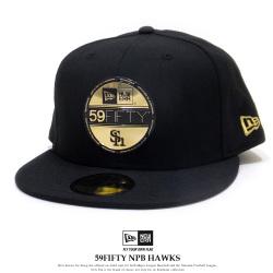 NEW ERA ニューエラ フラットバイザーキャップ 59FIFTY NPB バイザーステッカー 福岡ソフトバンクホークス ブラック × ゴールド 11901290