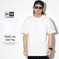 NEW ERA ニューエラ 半袖Tシャツ コットン ポケット Tシャツ ホワイト ネイビーフラッグ 11901355