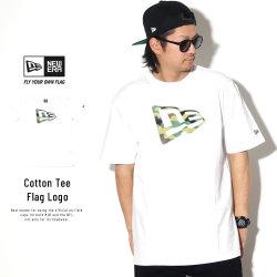 NEW ERA ニューエラ 半袖Tシャツ コットン Tシャツ ウッドランドカモ フラッグロゴ ホワイト 11901372